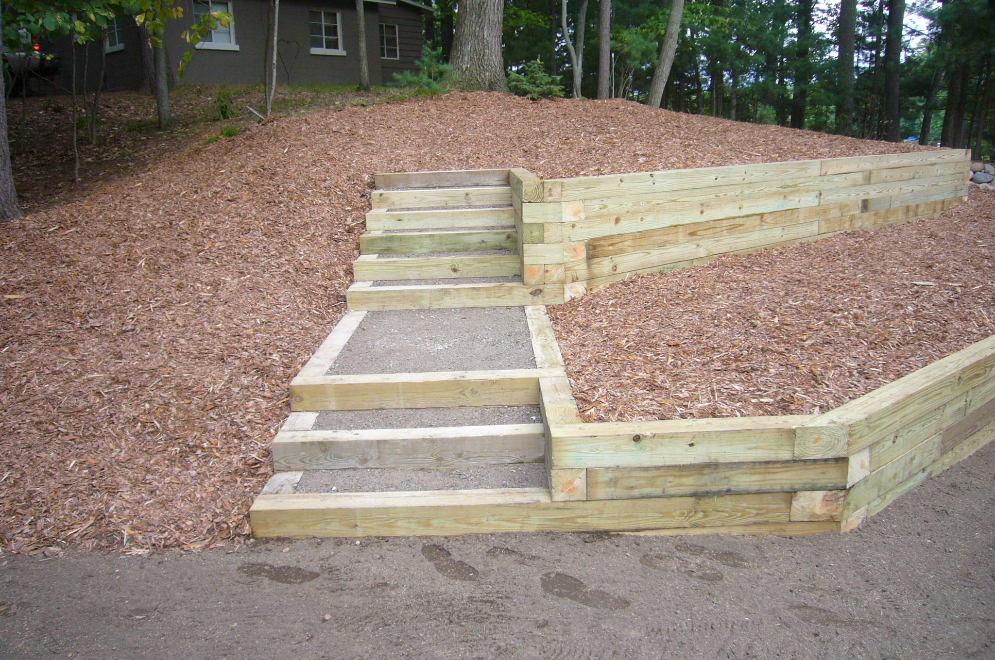 How To Build Steps With Landscape Timbers Chace Building